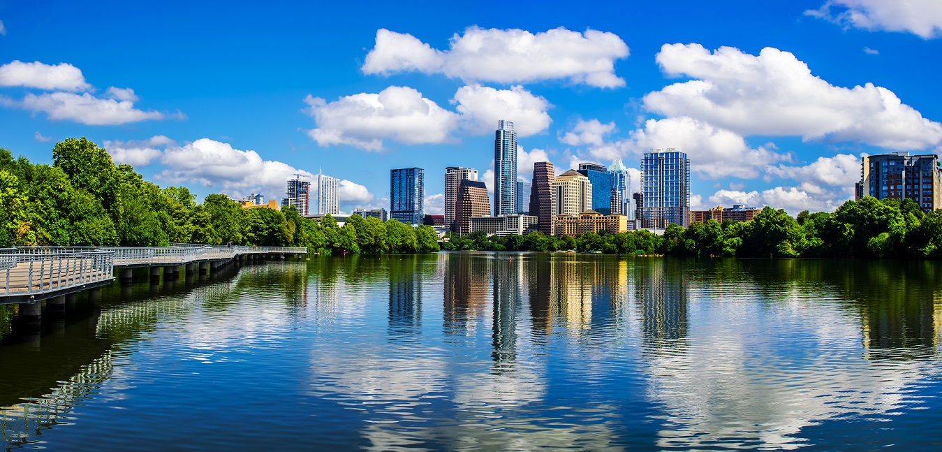Panoramic Austin Texas Reflections Lady Bird Lake 2015